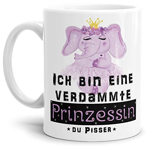 Tassendruck Elefant-Tasse mit Spruch Ich Bin eine verdammte Prinzessin du Pisser - Kaffeetasse/Mug/Cup/Prinzessin/Lustig/Witzig/Weiss
