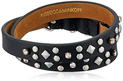 Rebecca Minkoff Studded Double Leather Black/Silver Wrap Bracelet