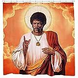 Sharp Shirter Duschvorhang-Set, lustige Meme-Art, lustige College-Dekoration, afrikanischer amerikanischer Held, Filmposter