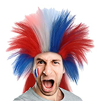 80s Punk Rocker Wig US French Flag Style Patriotic Mullet Crazy Hairpiece for Halloween Cosplay Costume Party