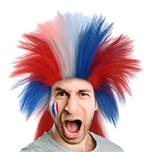 80s Punk Rocker Wig US French Flag Style Patriotic Mullet Hairpiece for Cosplay Costume Party