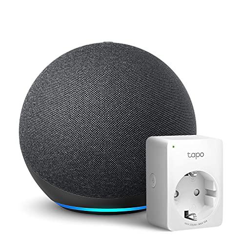Echo (4.ª generación), Antracita + TP-Link Tapo P100 Smart Plug (enchufe inteligente WiFi), compatible con Alexa