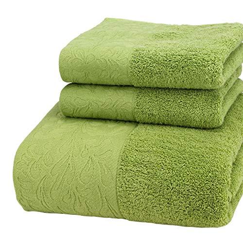 Charm4you 100% algodón Egipcio Peinado Toallas,Toalla de baño de Jacquard de algodón Satinado Peinado ecológico Juego de 3 Piezas 1 Toalla de baño 2 Toalla Verde Hierba