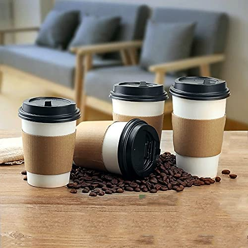 PPuujia Taza de café de papel desechable con tapa para bebidas frías y calientes para llevar, accesorios para beber (color: 400 ml, 12 onzas)