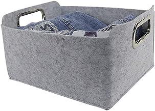 SKGOFGODcw Home Storage Bins Foldable Storage Basket Grey Felt Fabric Desk Organizer Tidy Storage Box Toys Cosmetic Case B...