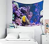 Tapiz de pared, decoración de arte del hogar de Pascua, tanque de arrecife, acuario marino, peces completos, plantas, tanque lleno de agua, que se mantiene con tapices de fondo para el dormitorio de l