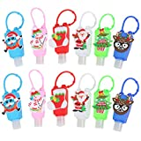 SUSHAFEN 10Pcs Christmas Hand Refillable Bottle with Silicone Protective Case Kids Travel Portable Mini 30ml Liquid Soap Plastic Bottles Keychain Carriers-Random Patterns