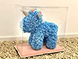 SUPERMOLON Unicornio Rosas 40cm con Caja Regalo Original - Unicornio de Flores 40cm de Rosas Artificiales Foam - Regalo San Valentín, Cumpleaños, Enamorados - Entrega 24h (Azul)