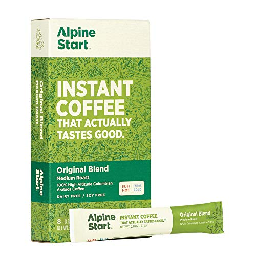 Alpine Start Premium Instant Coffee, 8 Single Packets, Original Blend, Medium Roast, 100% High Altitude Colombian Arabica Coffee, 0.88 Oz, Dairy Free, Gluten Free, Vegan, Vegetarian, Keto