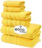 Eono by Amazon, Spa & Hotel Asciugamani Set di 6 Asciugamani, 2 Asciugamani da Bagno, 2 As...