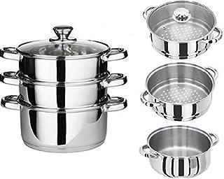 Juego de 4 ollas de acero inoxidable para cocinar y cocinar al vapor, tapas de cristal