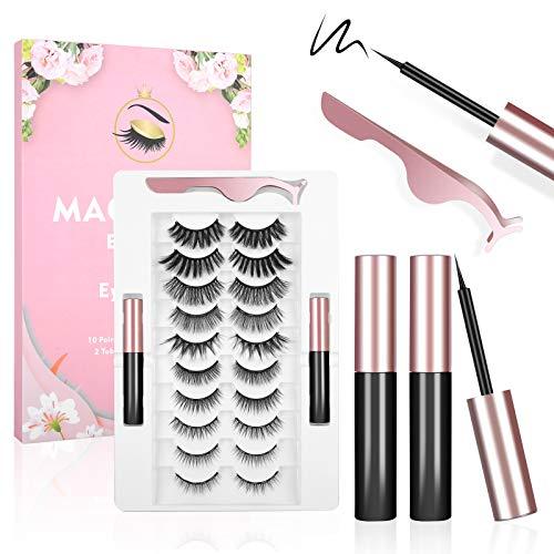 Magnetic Eyelashes, POSTA 10 Pairs False Eyelashes 2pcs Eyeliner, 3D Eyelashes, With Tweezers, Magnetic Eyeliner and Magnetic Eyelash Kit for Women