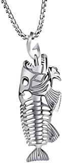 New Man Fish Bone & Fishing Hook Skeleton Stainless Steel Pendant Surfer Chain Necklace