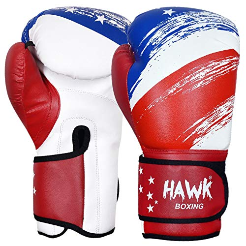 Hawk Sports Boxing Gloves for Men & Women MMA Sparring Muay Thai Kickboxing Leather Training Punching Heavy Bag Mitts USA Limited Edition