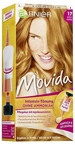 Garnier Tönung Movida Pflege-Creme / Intensiv-Tönung Haarfarbe 17 Goldkupfer (für leuchtende Farben, auch für graues Haar, ohne Ammoniak) 3er Pack Haarcoloration-Set