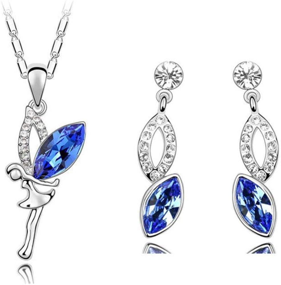 Jewelry Sets Austrian Crystal Women Dancing Girl Gift Party 18kgp Wings Fairy Pendant Necklace Earrings