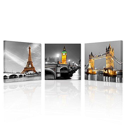 Kreative Arts - 3 Panel Paris Effiel Tower Canvas...