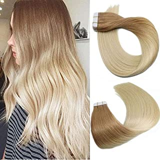 Tape In Hair Extensions Human Hair Balayage Ombre Hair 50g Per Set Golden Brown Fading to Platinum Blonde Double Sided Tape Skin Weft Remy Silk Straight Hair Glue in Extensions Human Hair 18 Inch