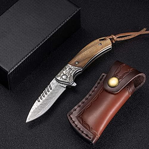 NedFoss Damast Taschenmesser Klappmesser, Vatertagsgeschenk, Damaststahl Messer Outdoor Damastmesser Folder Knife 7cm Klinge (Holzgriff) Fox
