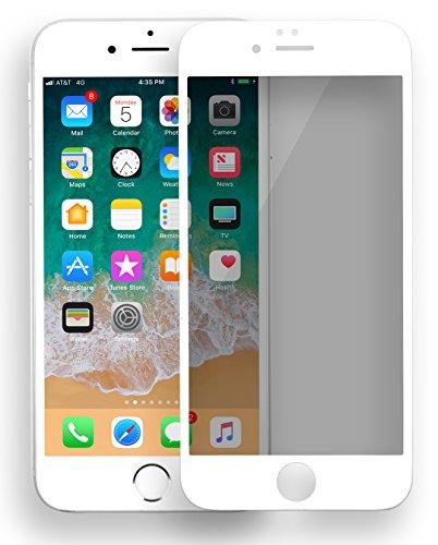 MyGadget Blickschutz Folie für Apple iPhone 6 Plus / 6s Plus - Schutzglas Anti Spy 9H Glasfolie Full Screen - Harte Privacy Protector Schutzfolie in Weiß