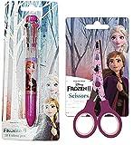 Familienkalender 2er Sparset, kompatibel zu Disney Die Eiskönigin 2 Frozen II, Anna und ELSA Kinderschere + 10 Farben Stift | Geschenk für Mädchen | Kinder | basteln