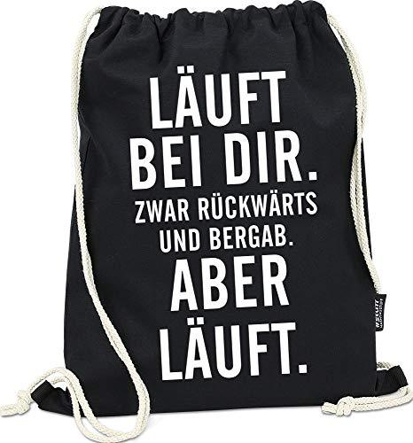 Hashtagstuff® Turnbeutel mit Sprüchen Designs auswählbar Kordel Schwarz Spruch Rucksack Jutebeutel Sportbeutel Gymbag Beutel Hipster Läuft