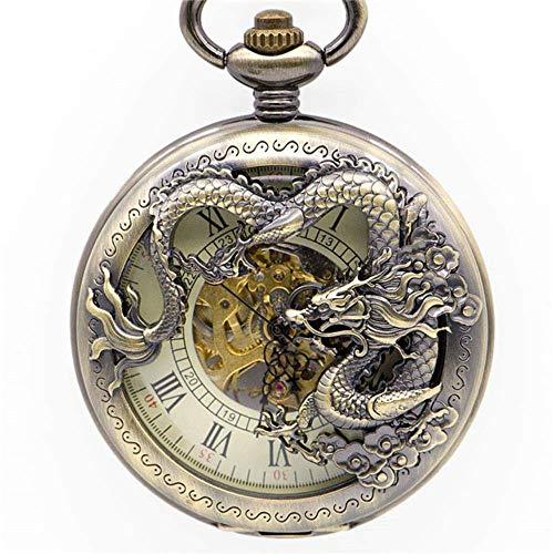 J-Love Relojes de Bolsillo para Hombre de Moda de Bronce Retro, Relojes de Bolsillo mecánicos analógicos con números Romanos Huecos tallados en Forma de dragón para Regalo