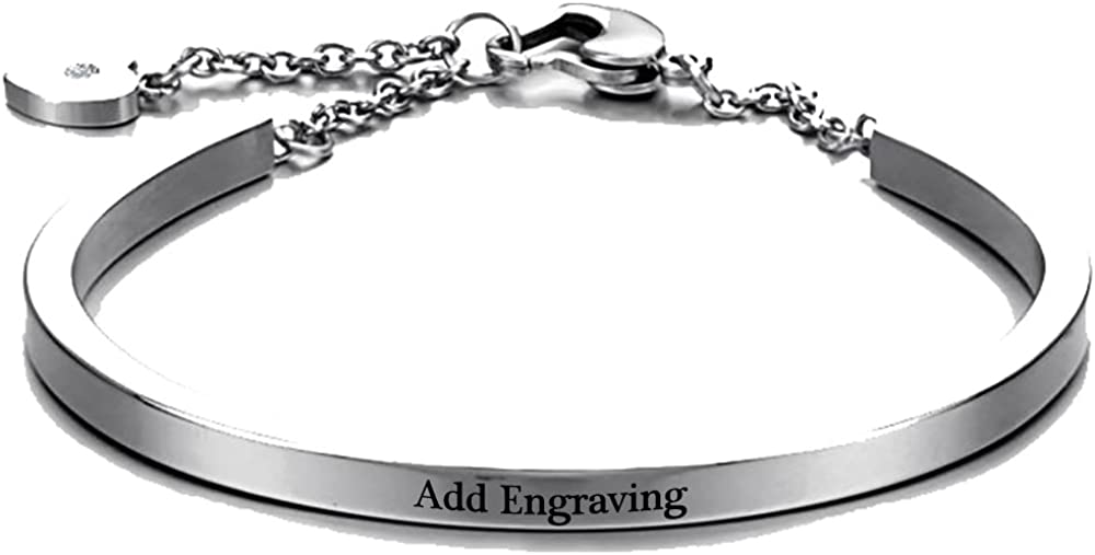 4 years warranty Personalized Womens Stainless Daily bargain sale Steel Bracelets Love with Names Cu