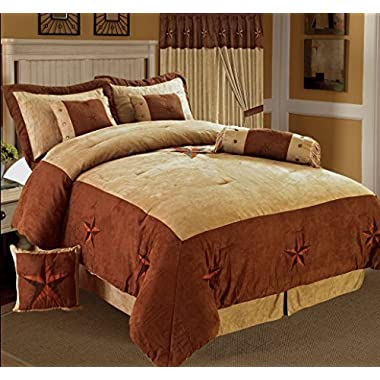 Golden Linens 8 Pieces Embroidery Western Lodge Texas Star Oversize Comforter Set Taupe Brown Lone Star Micro Suede Queen Size Bedding