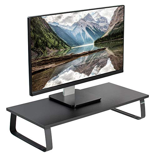 VIVO Black 24 inch Monitor Riser - Wood & Steel Desktop Stand |...