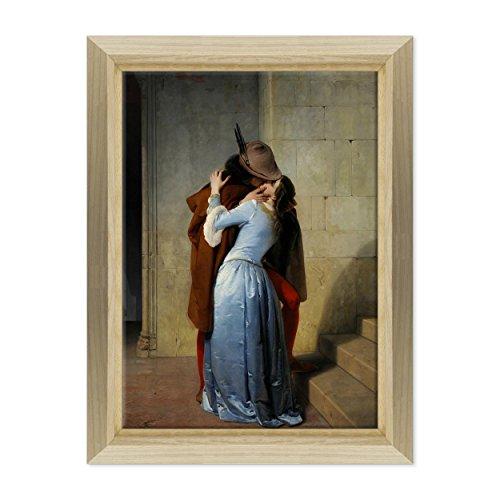 ConKrea Quadro su Tela - INTELAIATO - Pronto da Appendere - Arte - Il Bacio - The Kiss - Francesco Hayez - Pinacoteca di Brera - 50x70cm - Stile Design Legno Naturale - (cod.116)