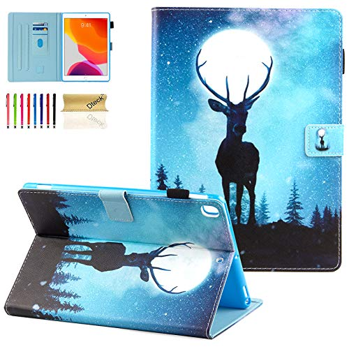 Dteck 10.5-Inch Case for iPad Air (3rd Generation) 2019 & iPad Pro 2017 Tablet - Magnetic Stand Synthetic Leather Protective Smart Wallet Fold Slim Cover with Auto Sleep Wake/Stylus Pen (Moon Elk)