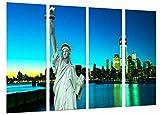 Poster Fotográfico Mar Ciudad Noche, Ciudad Nueva York, Estatua Libertad Tamaño total: 131 x 62 cm XXL