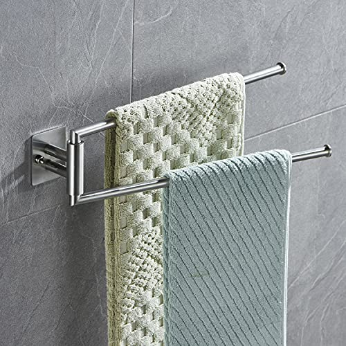 Lolypot Portasciugamani doppio in acciaio inox 304 a due bracci, mensola porta asciugamani da parete 35 cm, 2 aste, per bagno e cucina (argento spazzolato)