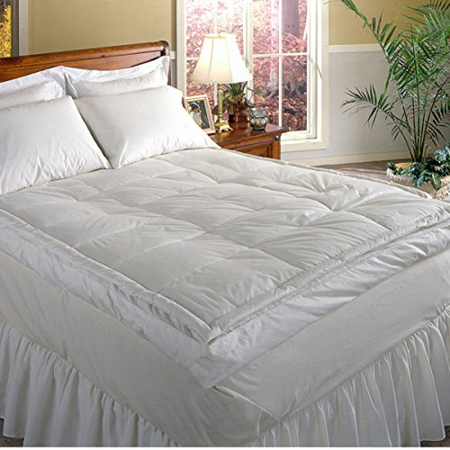 Luxurious Down-top Baffle Box 5-inch Gusset Feather Bed. Rest in Luxurious Comfort. Excellent Price for Luxury. It's Like Sleeping on a Snugly Warm Cloud Mattress Topper. Soft Squishy Comforter That You Sink Into All Night. Queen Size