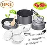 Camping Cookware Kit,Outdoor Cooking Set with Kettle,Lightweight Camping Pot and Pan for 2