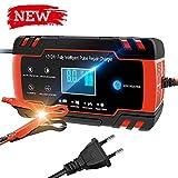 Directtyteam Chargeur de Batterie Intelligent Portable 8A 12V/4A 24V LCD Écran avec Protections Multiples Type de réparation pour Batterie de Voiture Moto (Rouge)