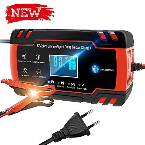 Directtyteam Chargeur de Batterie Intelligent Portable 8A 12V/4A 24V LCD cran avec Protections Multiples Type de rparation pour Batterie de Voiture Moto (Rouge)
