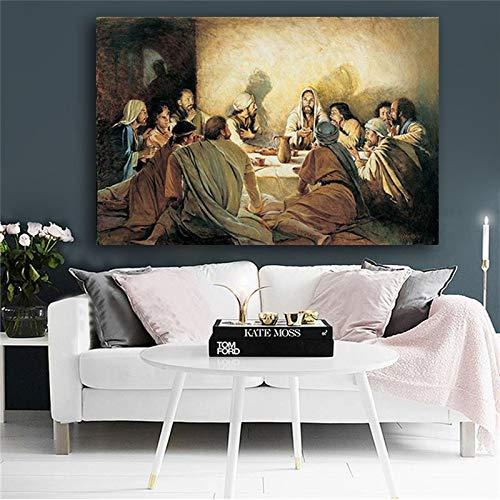 wZUN Pintura al óleo Famosa de la Última Cena, Carteles e Impresiones en Lienzo, Arte nórdico, Pared, decoración para Sala de Estar, Pintura 60x90 Sin Marco