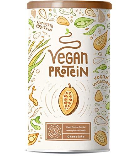 Vegan Protein | SCHOKOLADE | Kraftvoll und rein pflanzliches Proteinpulver mit Reis-, Soja-, Erbsen-, Chia-, Sonnenblumen- und Kürbiskernprotein | Ohne künstliche Süßstoffe und Aromen | 600g Pulver