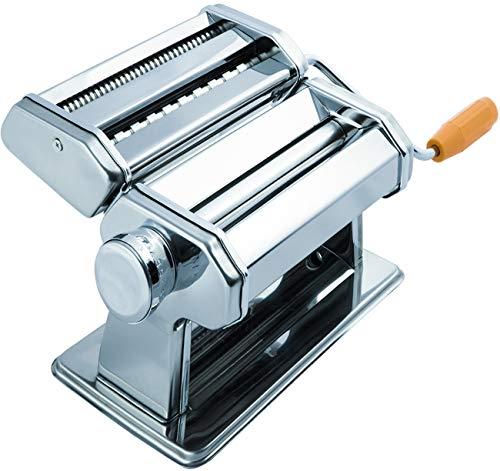 SUKHAD Manual Stainless Steel Lasagna Tagliatelle Fettuccine Spaghetti Pasta Noodle Maker Machine, 20 X 18 X 13 cm, Silver