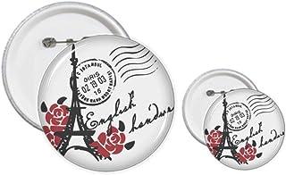 Kit d'épingles style tampon avec motif Tour Eiffel et roses de Paris
