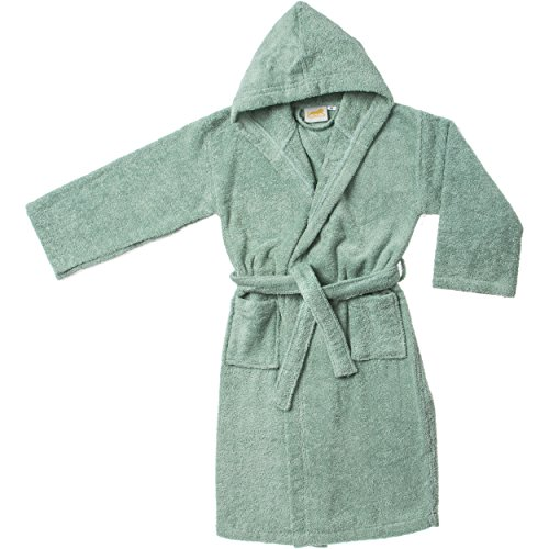 Superior Collection, 100% Premium Long-Staple Combed Cotton, Hooded Terry Bath Robe for Kids, Small/Medium, Sage