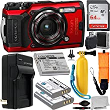 Olympus Tough TG-6 Digital Camera (Red #V104210RU000) with Essential Accessory Bundle – Includes: SanDisk Ultra 64GB SDXC Memory Card + 2X Seller Replacement Batteries with Charger + Much More