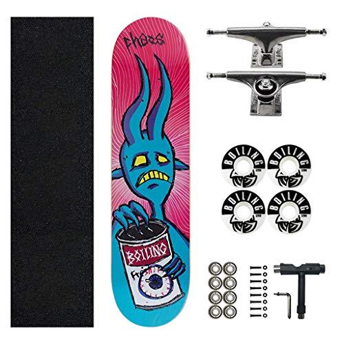 Zjcpow Standard Komplett Skateboards, 31x 8-Zoll-Longboard for Kids Teens Erwachsene Anfänger Geschenk, 7 Schicht Ahorn, Doppel Kick-Deck Concave Cruiser Trick Skateboard xuwuhz