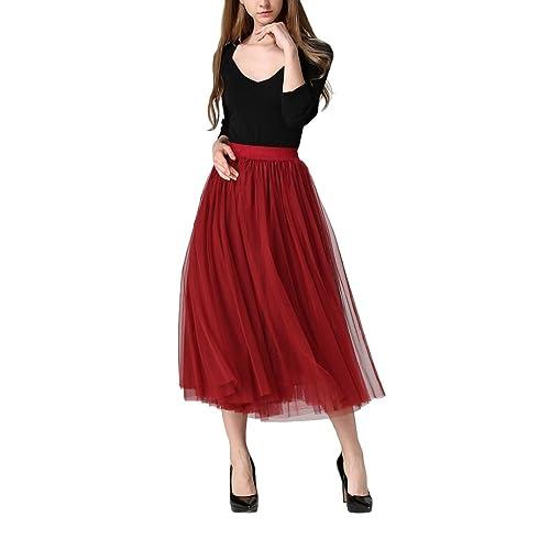 d0157bbba Falda Roja Mujer: Amazon.es
