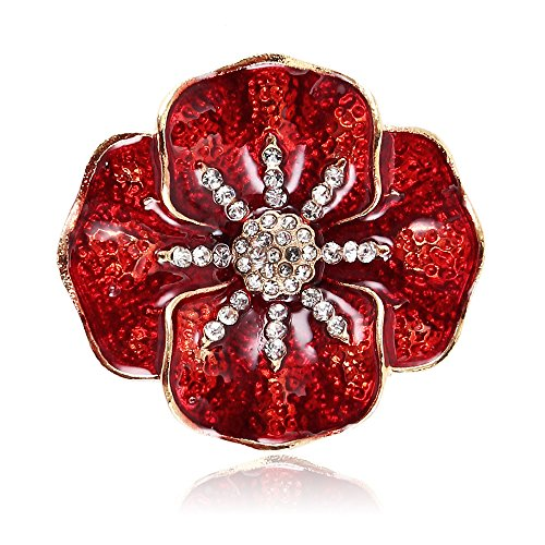 willkey Poppy Brooch Red Flower Lapel Pin Badges 38x35mm Diamante Crystal Banquet Remembrance Day Gift Plated 4 Petals