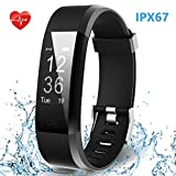HolyHigh Smart 115Plus Fitness Tracker Watch with Heart Rate, Step Counter, Sleep Monitor Call SMS Notifications for Men and Women (Purple)