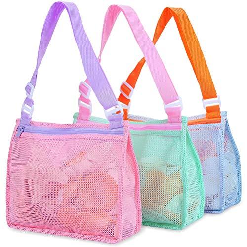 Tixiyu 3 bolsas de malla de juguete para niños, bolsa de colección de conchas de playa, bolsa de malla de almacenamiento de juguetes de arena, reutilizable plegable y ligera accesorios de natación