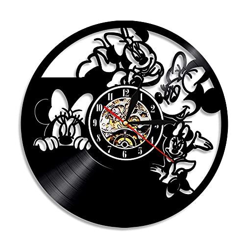 Mickey Mouse De Disney Reloj de Pared Grande Salon 30cm Reloj de Pared de Vinilo,Reloj de Pared Silencioso Modernos,Reloj de Pared de Cuarzo Decoración para Oficina Bar Restaurante Negro 6